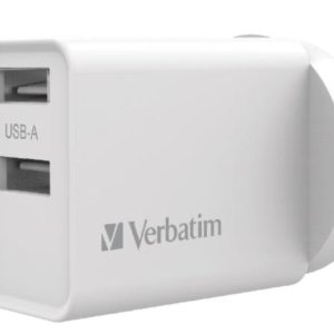 Verbatim USB Charger Dual Port 2.4A - White Twin Port Wall Charger