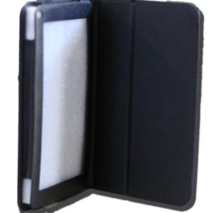 LeaderTab10Q Folio Case Black Faux Leather. Camera hole rear