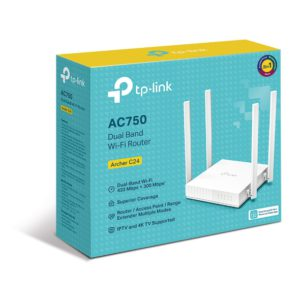 TP-Link Archer C24 AC750 Dual-Band Wi-Fi Router 2.4GHz 300Mbps 5GHz 433Mbps 4xLAN 1xWAN 4xAntennas