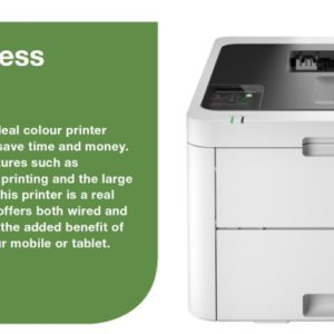 Brother HL-L3230CDW Colour LED Laser Printer with automatic 2-sided printing and wireless connectivity. 24ppm Mono and Colour