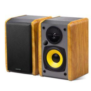 Edifier R1010BT - 2.0 Lifestyle Bookshelf Bluetooth Studio Speakers Black - 3.5mm AUX/RCA/BT/Connects 2 Bluetooth devices/Built-in amplifier BROWN