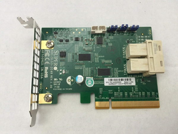 SuperMicro Add-on Card AOC-SLG3-2E4R - 6.4GB/s dual-Port Gen-3 Internal NVMe Host Bus Adapter