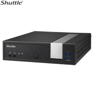 Shuttle DX30 Slim Mini PC 1.3L - Fanless 4K 3xDisplays Celeron J3355 2xDDR3L SODIMM 2.5' M.2 HDMI DP 2x RS232 GbE LAN WoL WiFi VESA 24/7 2xUSB3 4xUSB2