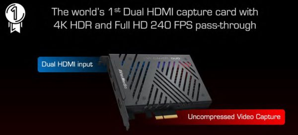 AVerMedia GC570D 4k HDR and 1080p240 pass-thru. Record @ 1080p60 HDR with Dual-HDMI input + 1 HDMI output. (LS)