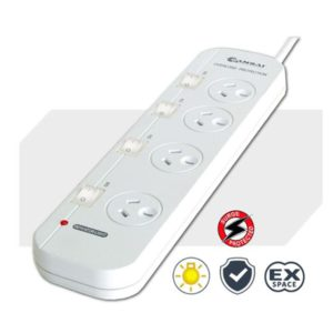 Sansai 4-Way Power Board (421SW) with Individual Switches and Surge Protection