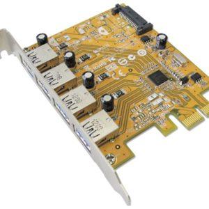 Sunix USB4300NS PCIE 4-Port USB 3.0 Card (SATA power connector); Universal Serial Bus 3.0; xHCI; Single-lane (x1) PCI Express
