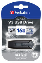 Verbatim 16GB V3 USB3.0 Grey Store'n'Go V3; Rectractable USB Storage Drive Memory Stick