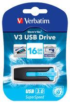 Verbatim 16GB V3 USB3.0 Blue Store'n'Go V3; Rectractable USB Storage Drive Memory Stick