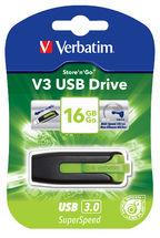 Verbatim 16GB V3 USB3.0 Green Store'n'Go V3; Rectractable USB Storage Drive Memory Stick