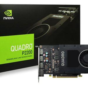 NVidia Quadro P2200 PCIe Workstation Card 5GB DDR5 4xDP 1.4 4x4096x2160@120Hz 160-Bit 200GB/s 1280 Cuda Core Single Slot Software disc not inc